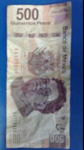 Pagó con billete falso de 500 pesos